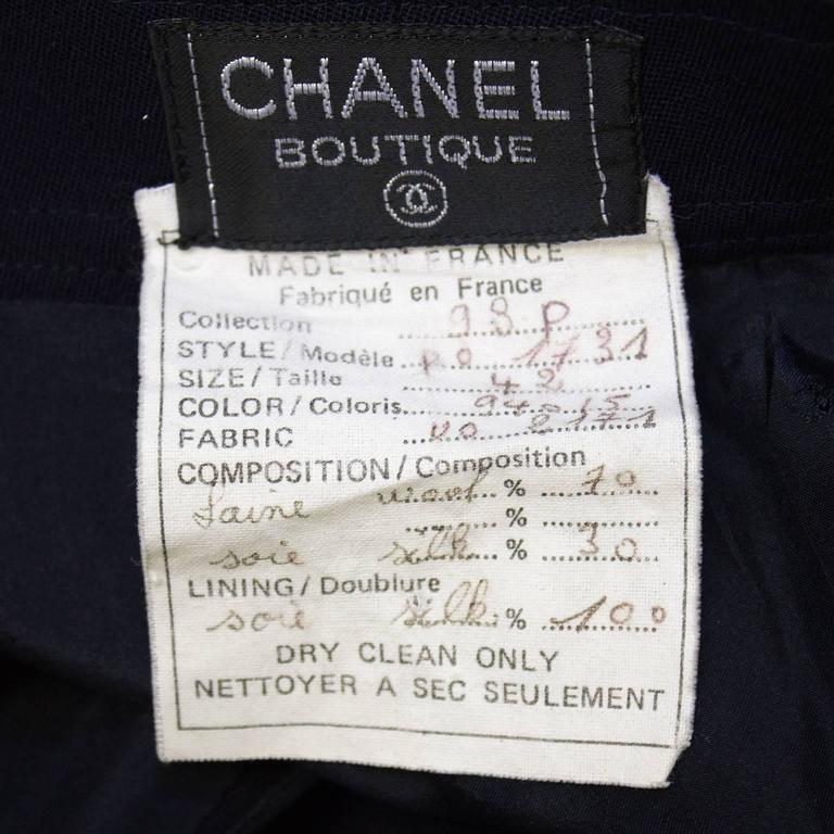 Women's or Men's 1998P Chanel Navy Blue Trousers with Gold Buttons  For Sale