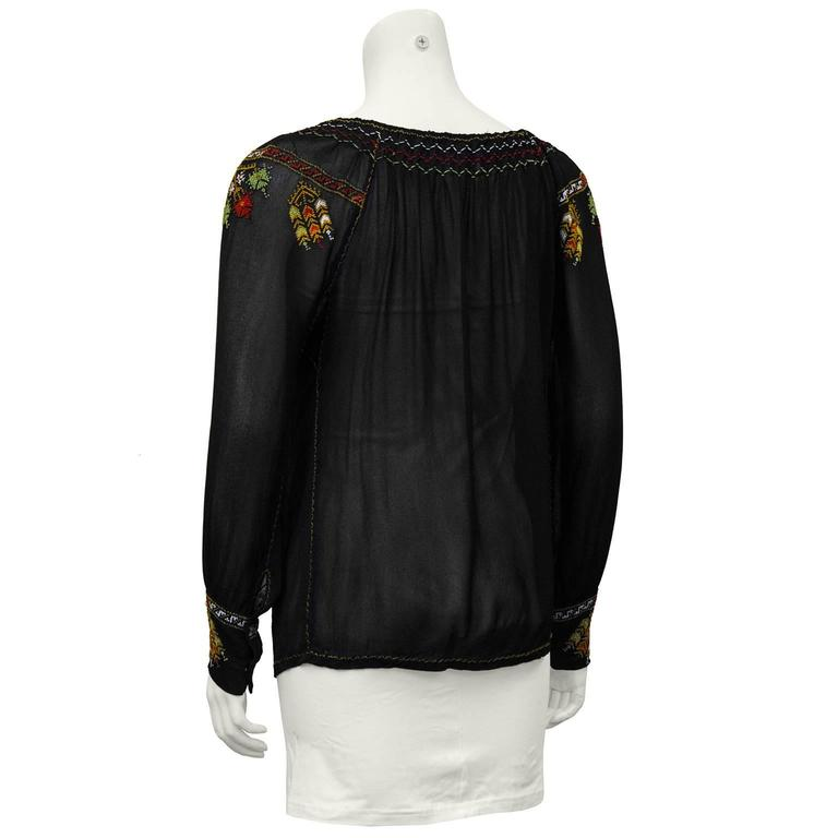 1940's Anonymous Black Hand Embroidered Smock Top 3