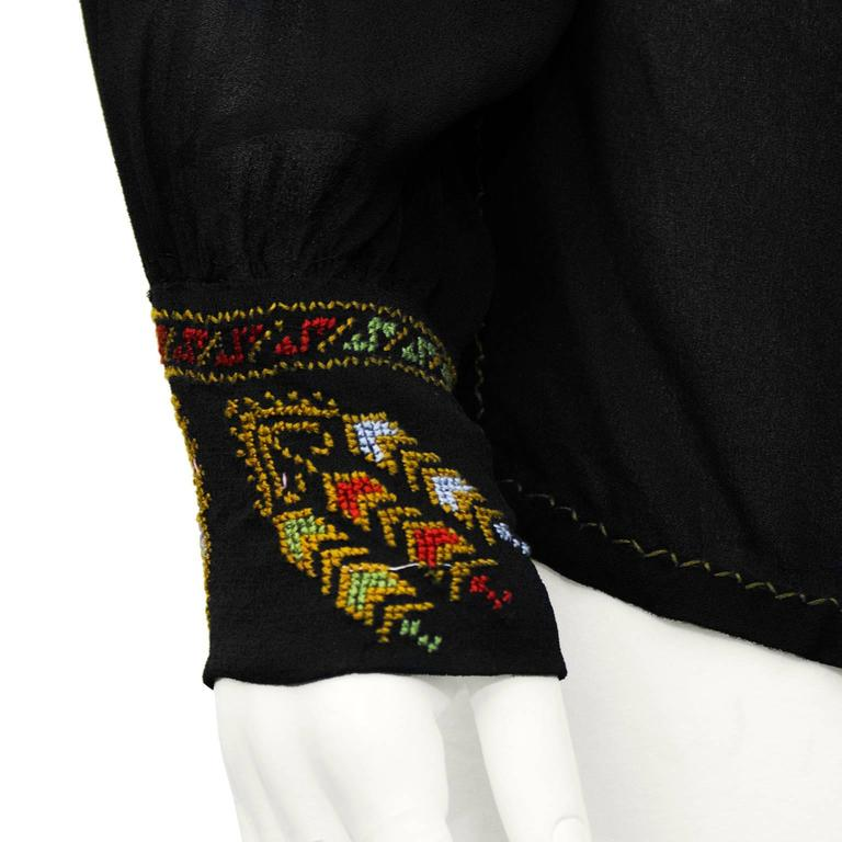 1940's Anonymous Black Hand Embroidered Smock Top 4