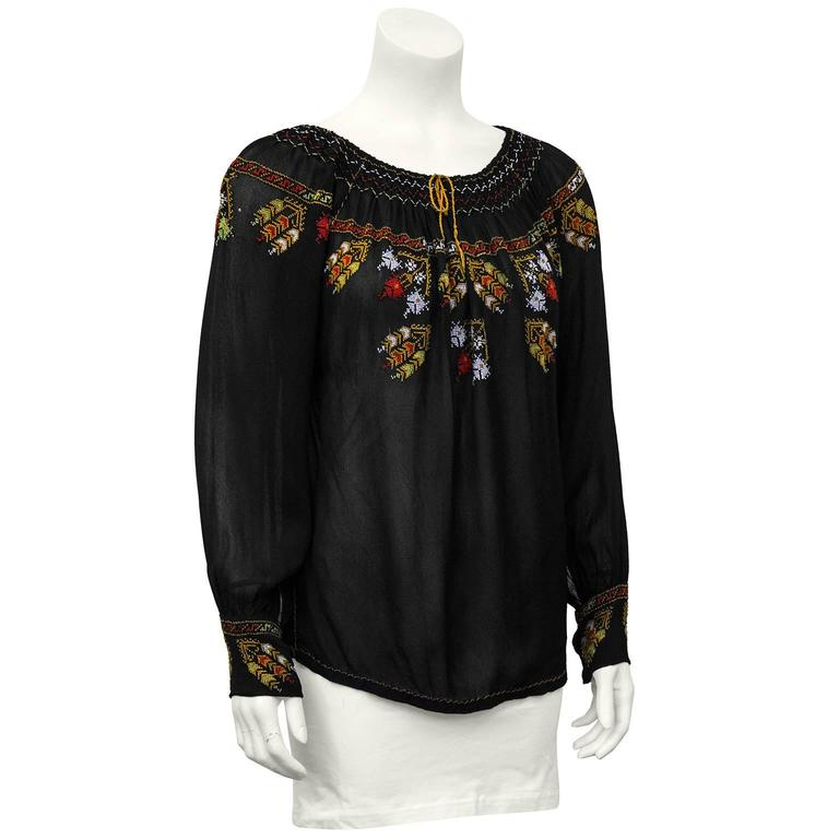 1940's Anonymous Black Hand Embroidered Smock Top 2