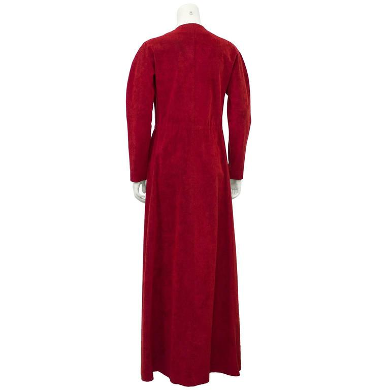 1970's Halston Red Ultra Suede Gown  3