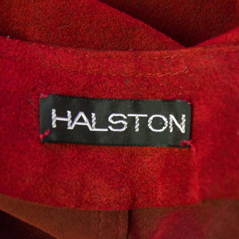 1970's Halston Red Ultra Suede Gown  5