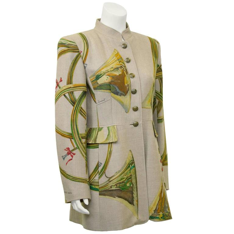 1980s Hermes Trompes de Chasse Wool & Cashmere Jacket 2