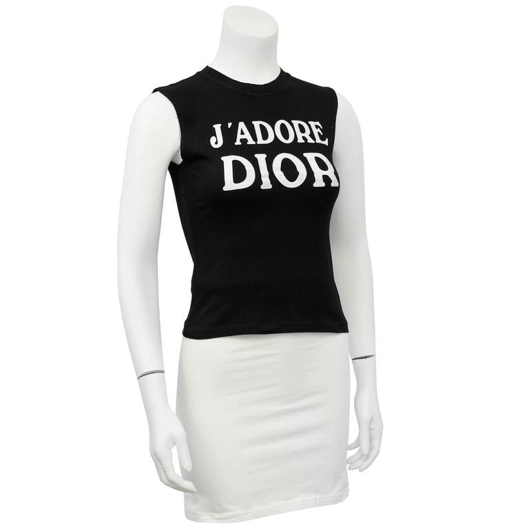 Iconic authentic John Galliano for Dior 1990's black with white 'J'ADORE DIOR' muscle t-shirt. Worn by many celebrities. Similar version worn by Carrie Bradshaw in the movie Sex and the City 2. Covetable and collectable. 100% cotton, excellent