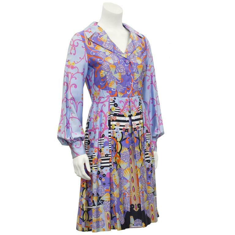 1960's Anonymous Combed Cotton Psychedelic Seashell Print Shirt Dress  2