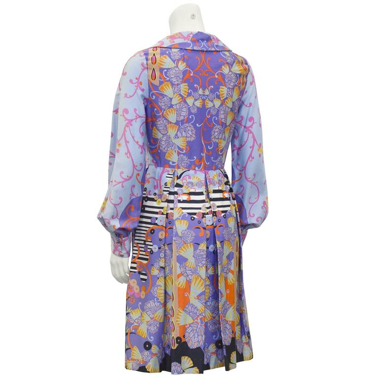 1960's Anonymous Combed Cotton Psychedelic Seashell Print Shirt Dress  3