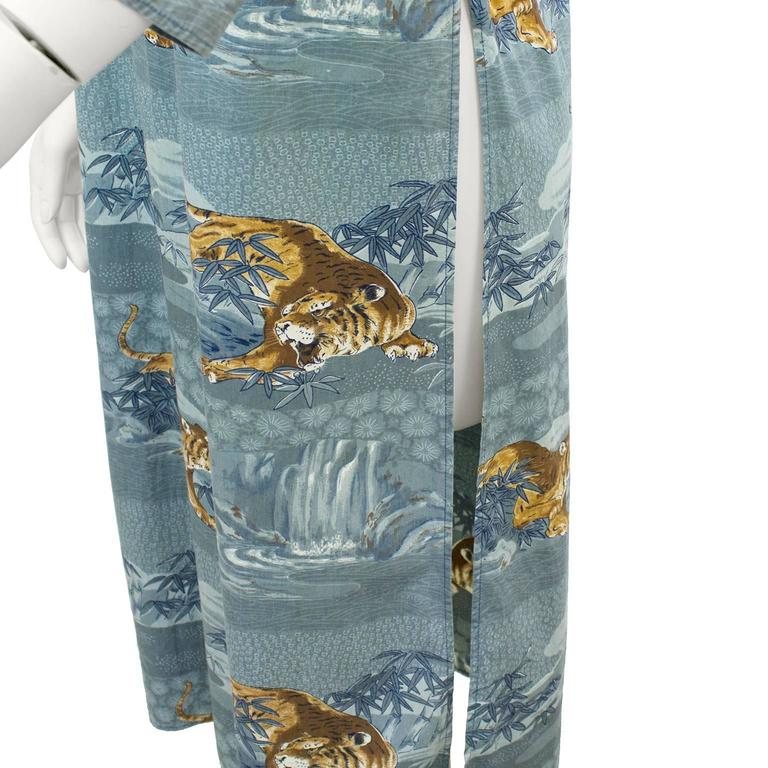 1970's Kenzo JAP Blue Cotton Tiger Print Maxi Tunic  In Excellent Condition For Sale In Toronto, Ontario