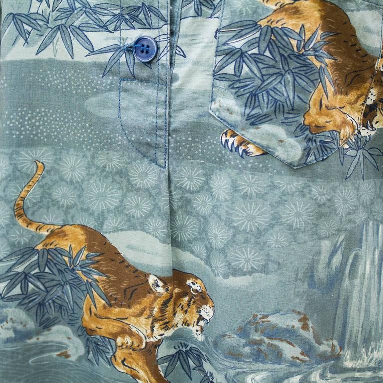 Women's 1970's Kenzo JAP Blue Cotton Tiger Print Maxi Tunic  For Sale