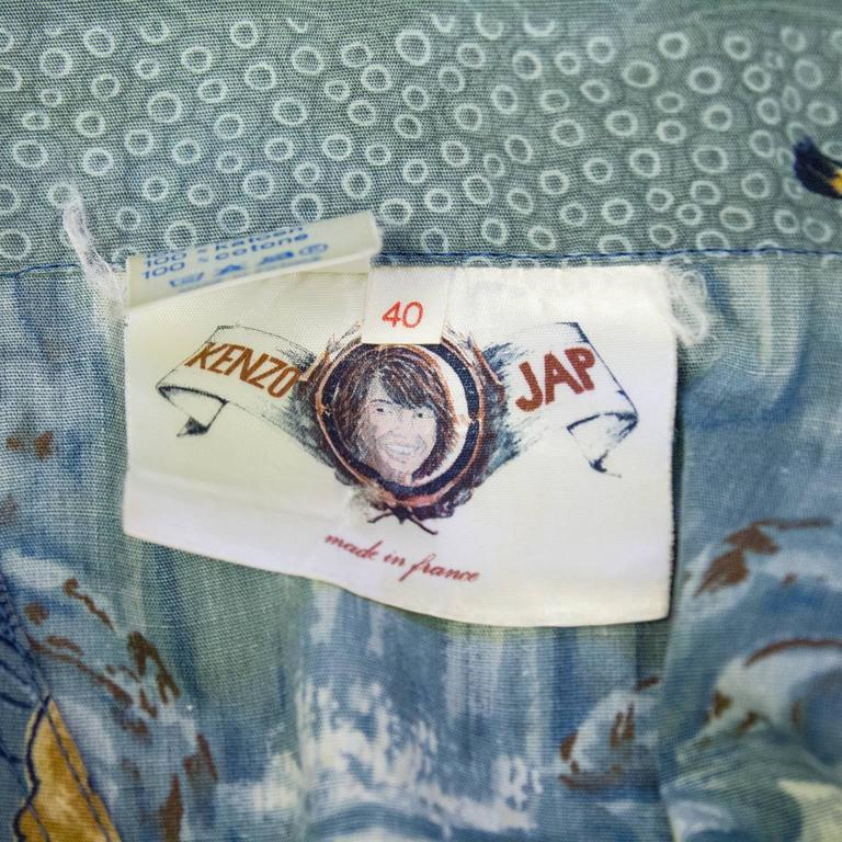 1970's Kenzo JAP Blue Cotton Tiger Print Maxi Tunic  For Sale 1