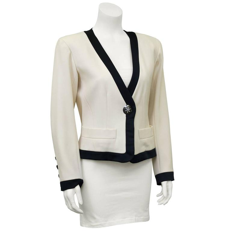 1980s Yves Saint Laurent/YSL Cream Cropped Jacket with Black Satin Trim  2