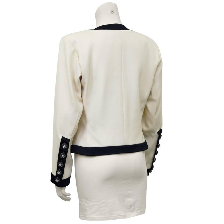 1980s Yves Saint Laurent/YSL Cream Cropped Jacket with Black Satin Trim  3