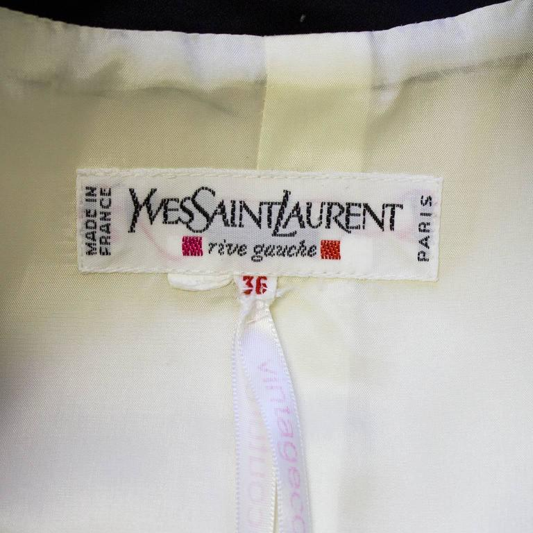 1980s Yves Saint Laurent/YSL Cream Cropped Jacket with Black Satin Trim  5