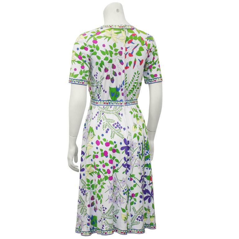 Gray 1970's Floral Bessi Day Dress For Sale