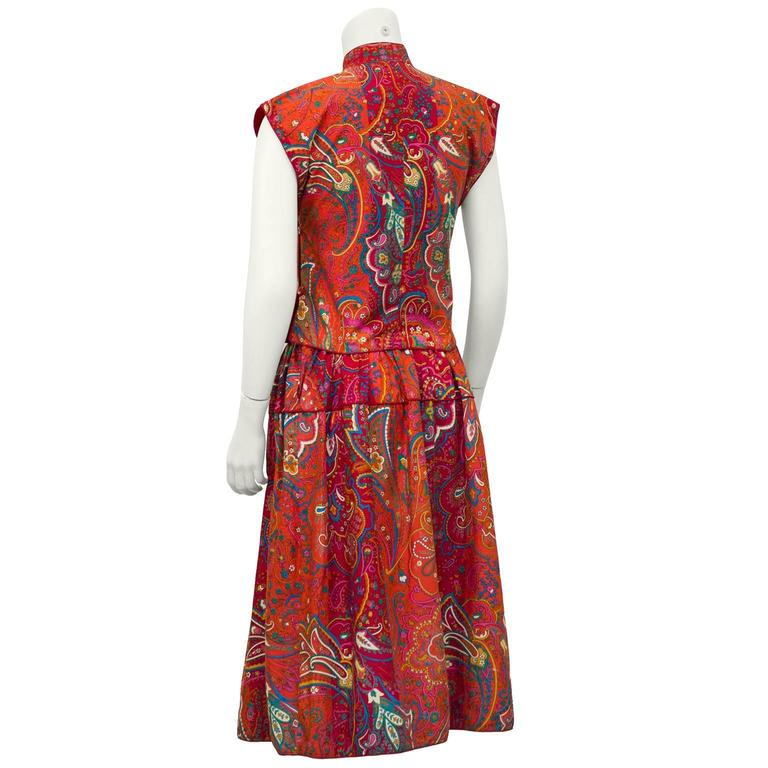 Brown 1970's Kenzo Paris Paisley Cotton Top and Skirt Ensemble  For Sale