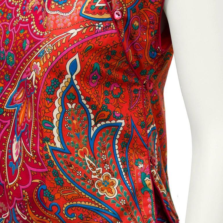 Women's 1970's Kenzo Paris Paisley Cotton Top and Skirt Ensemble  For Sale