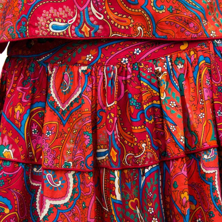 1970's Kenzo Paris Paisley Cotton Top and Skirt Ensemble  For Sale 1