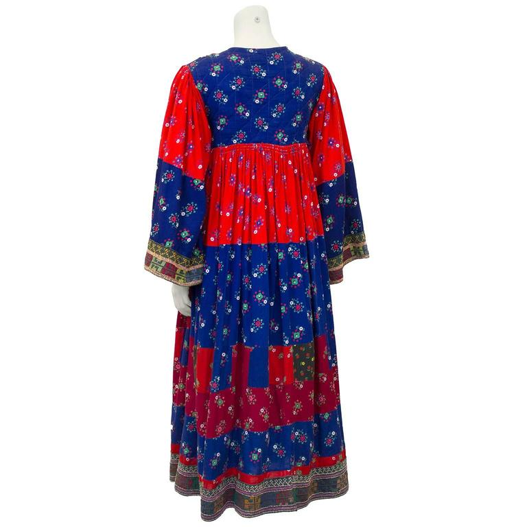 1950s Anonymous Multi Color Ethnic Embroidered Smock Dress 3