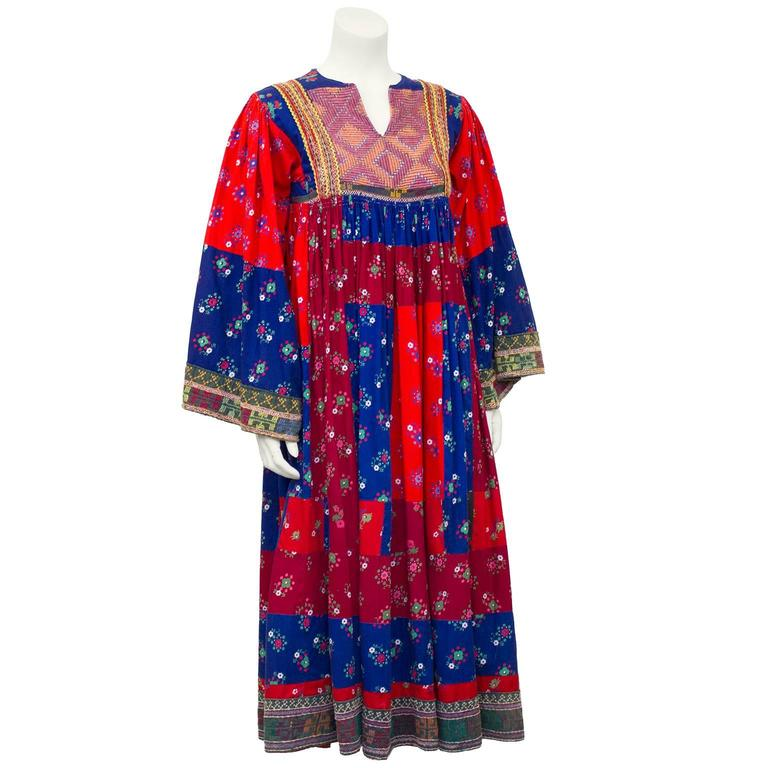 1950s Anonymous Multi Color Ethnic Embroidered Smock Dress 2