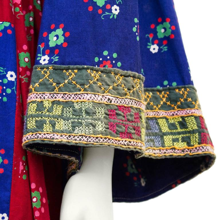 1950s Anonymous Multi Color Ethnic Embroidered Smock Dress 4