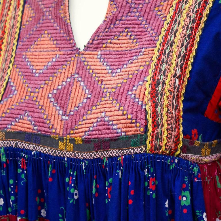1950s Anonymous Multi Color Ethnic Embroidered Smock Dress 5
