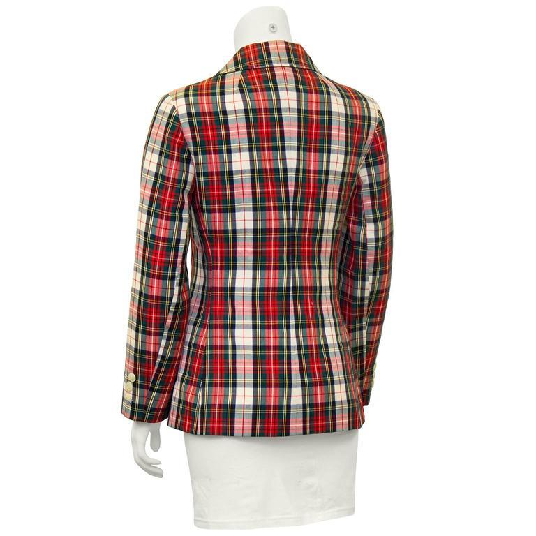 Brown 1960's Young Pendleton Red Tartan Wool Blazer  For Sale