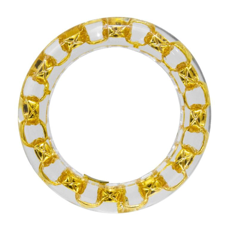 1990 Lucite Bangle With Gold Chain Link Detail 2