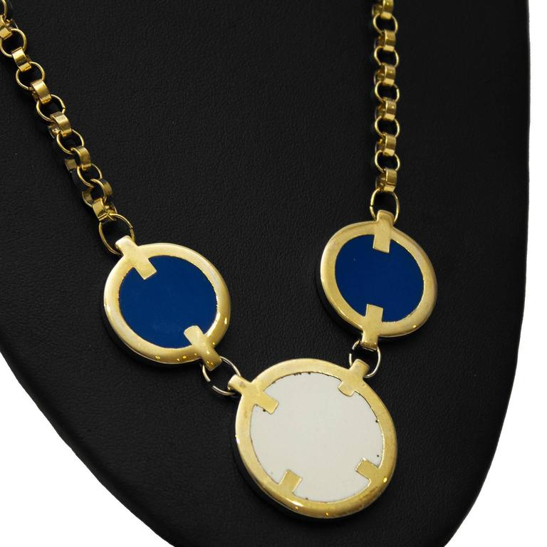 """Beautiful piece of Lanvin costume jewellery, dating from the 1970's. Gold tone chain link with white and blue details. Lobster clasp with Lanvin tag. Excellent vintage condition.  Length 16.5"""""""