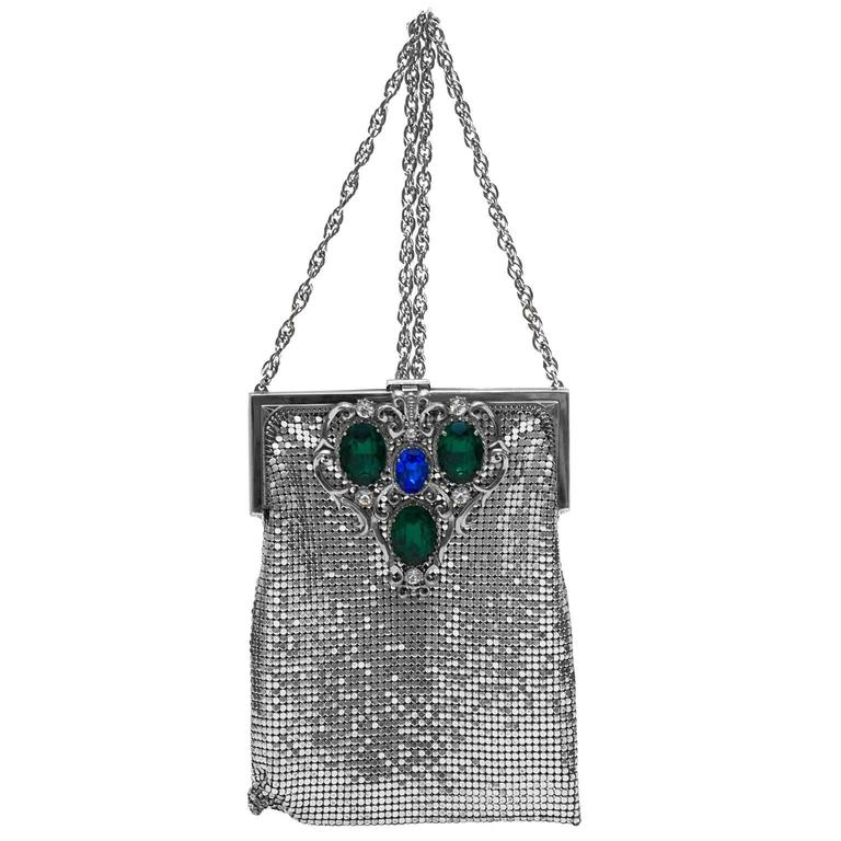 1940s Whiting And Davis Silver Metal Mesh Cross Body Evening Bag For