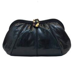 1980s Judith Leiber Black Exotic Skin Clutch