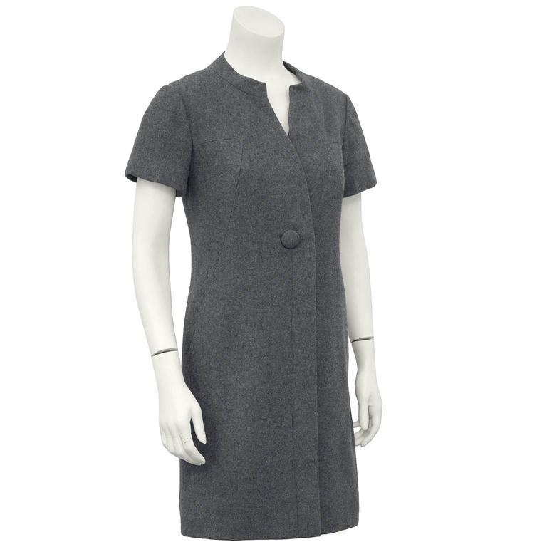Gray 1960s Christian Dior New York Grey Wool Dress  For Sale
