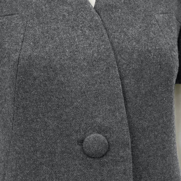 1960s Christian Dior New York Grey Wool Dress  In Excellent Condition For Sale In Toronto, CA