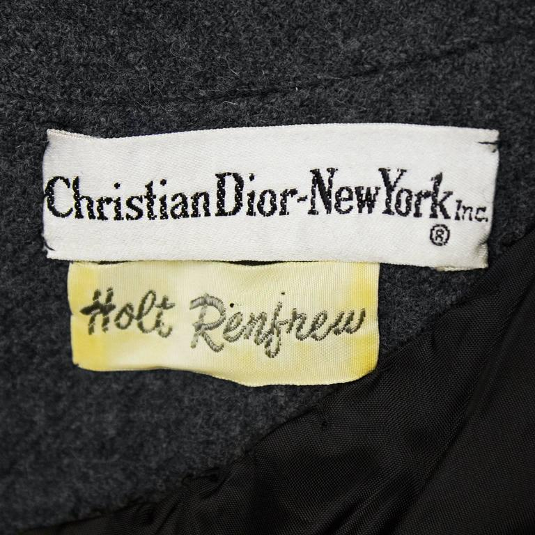 Women's 1960s Christian Dior New York Grey Wool Dress  For Sale