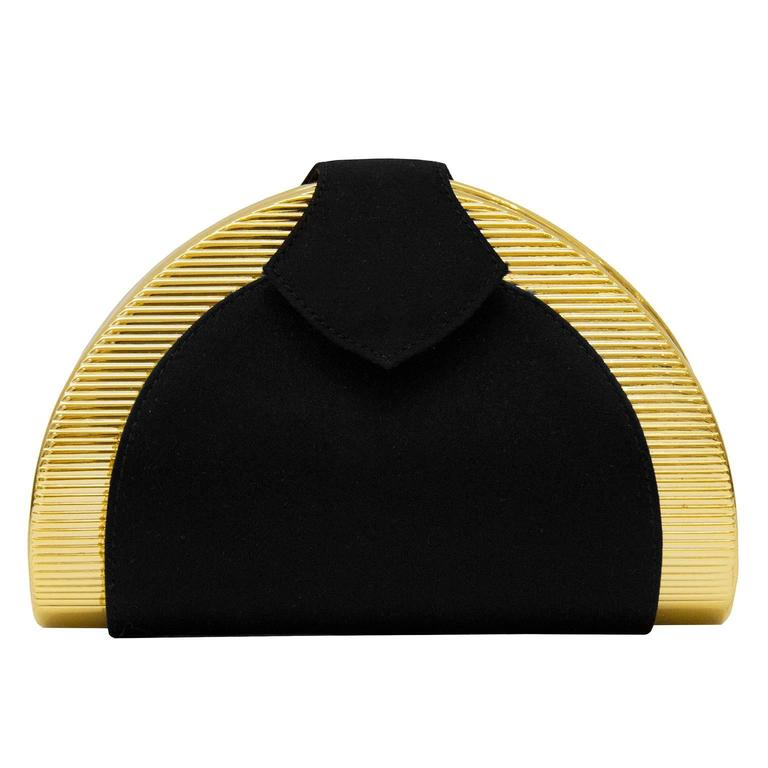 1980s Rodo Black and Gold Evening Clutch