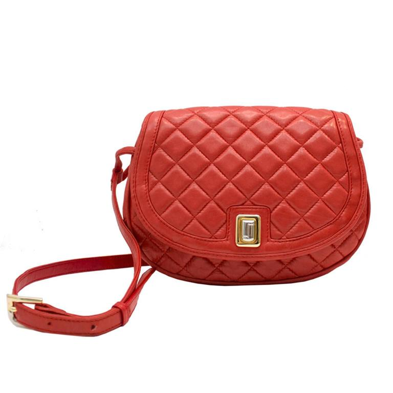 1980s Judith Leiber Red Quilted Lambskin Bag
