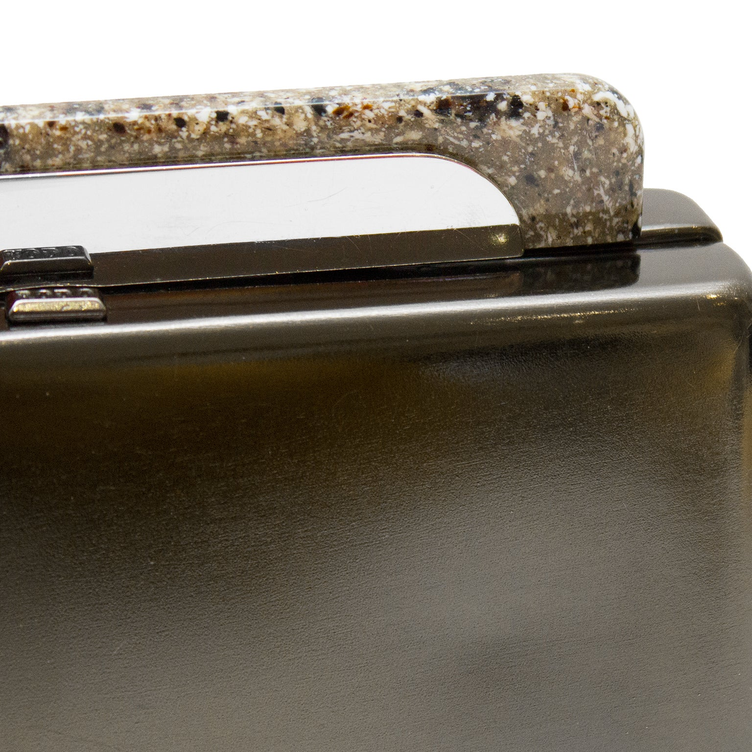 Rodo 1980s Rodo Pewter Minaudiere Clutch With Faux Granite Detailing 1AgUAS
