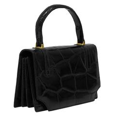 1960's Small Black Exotic Skin Bag with Suede Lining
