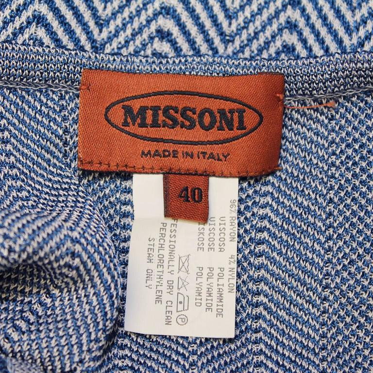 2000's Missoni Blue Knit Tank with Chevron Detailing 5