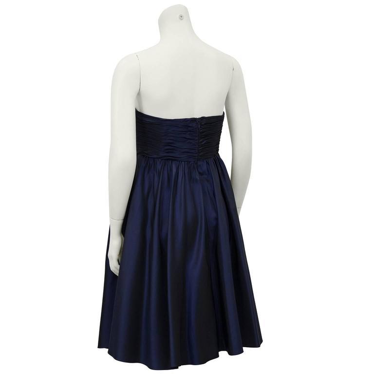 Black 1990's Bill Blass Navy Blue Taffeta Cocktail Dress For Sale