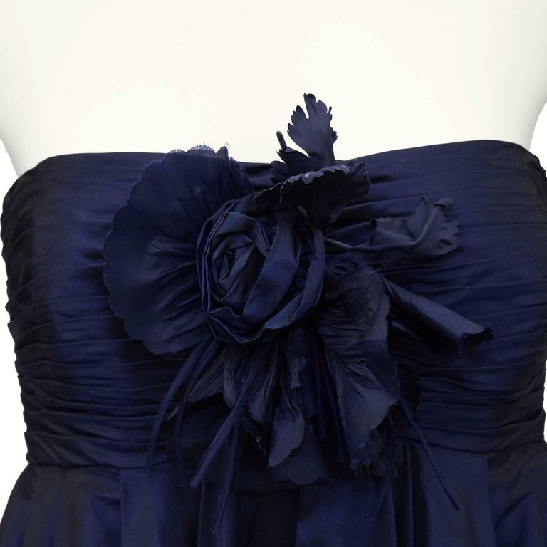 1990's Bill Blass Navy Blue Taffeta Cocktail Dress In Excellent Condition For Sale In Toronto, Ontario