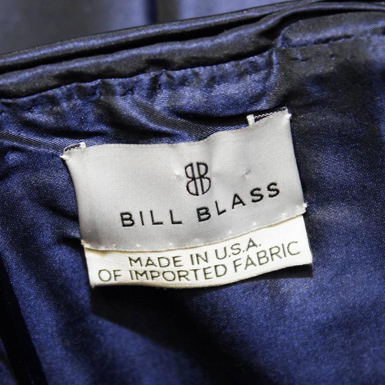 Women's 1990's Bill Blass Navy Blue Taffeta Cocktail Dress For Sale
