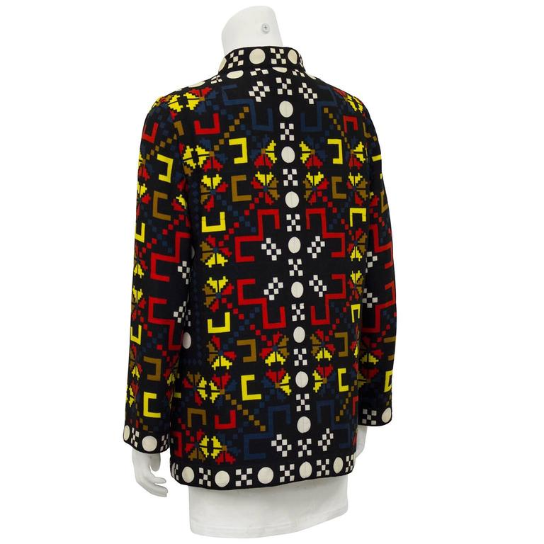 Black 1980s Lanvin Multicolor Graphic Print Jacket  For Sale