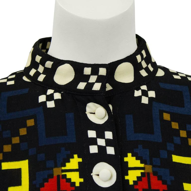 1980s Lanvin Multicolor Graphic Print Jacket  In Excellent Condition For Sale In Toronto, Ontario