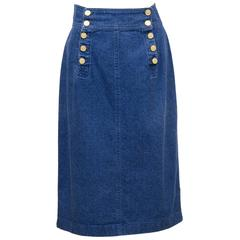 1990s Chanel Denim Skirt with Gold Buttons