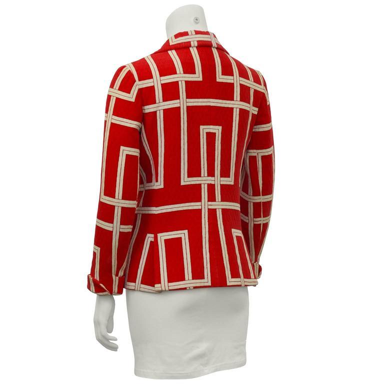 1970s Rudi Gernreich Orange and Cream Jacket  3