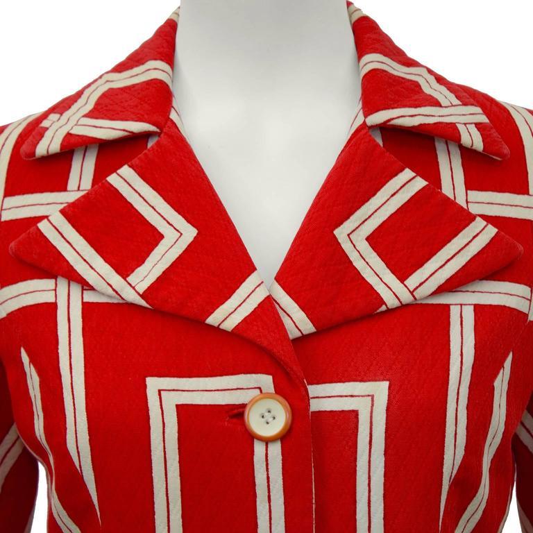 1970s Rudi Gernreich Orange and Cream Jacket  4