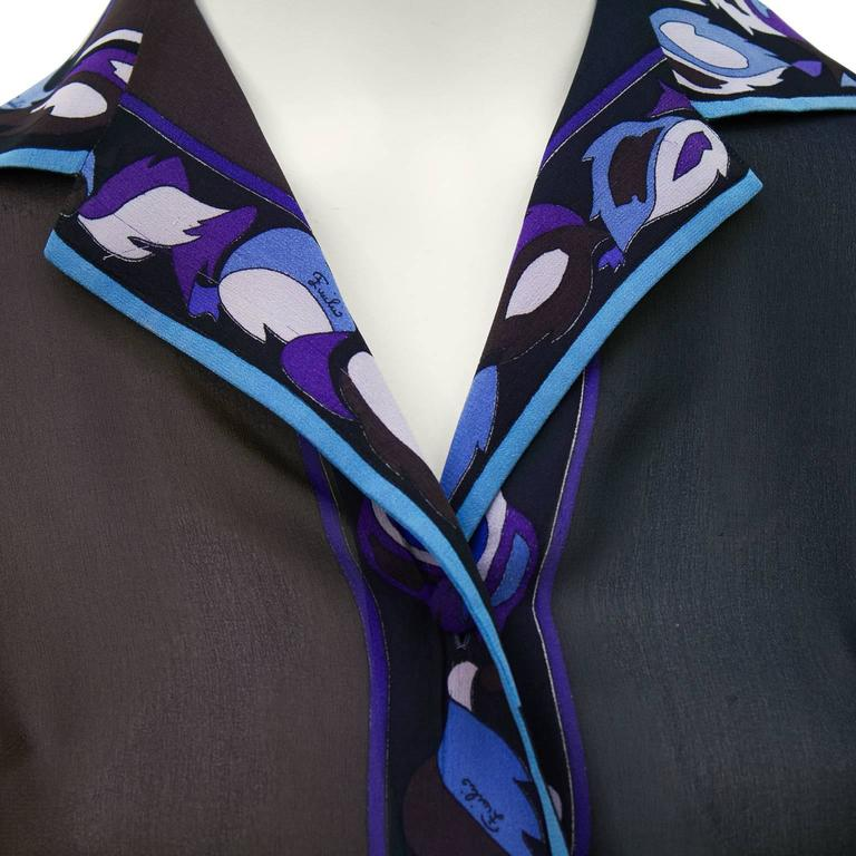 1970 S Pucci Brown Blue And Purple Chiffon Blouse And