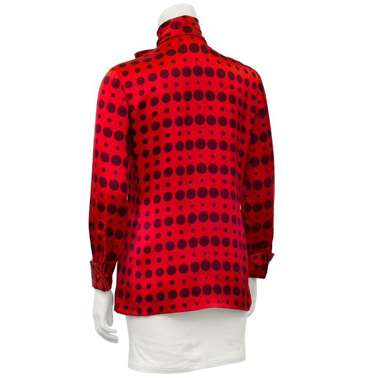 1980's Bill Blass Red Silk Polka Dot Blouse  3