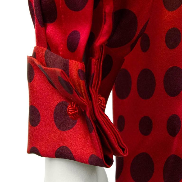 1980's Bill Blass Red Silk Polka Dot Blouse  5