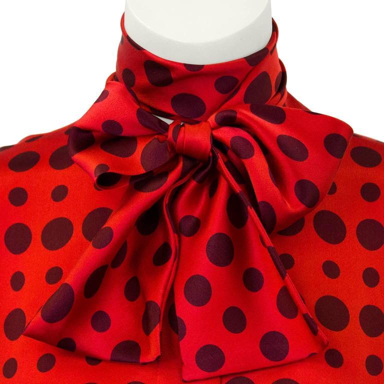 1980's Bill Blass Red Silk Polka Dot Blouse  4