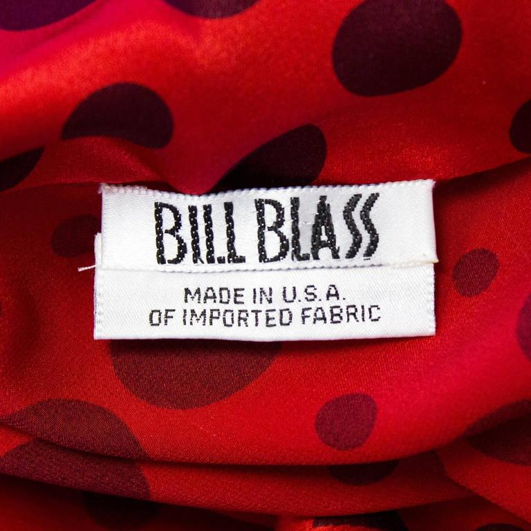 1980's Bill Blass Red Silk Polka Dot Blouse  6